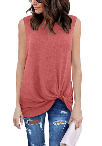 Model wearing coral pink front twist knot sleeveless crew neck top