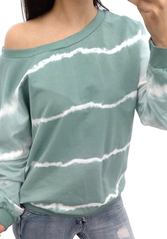 Green One-Shoulder Tie Dye Striped Sweatshirt