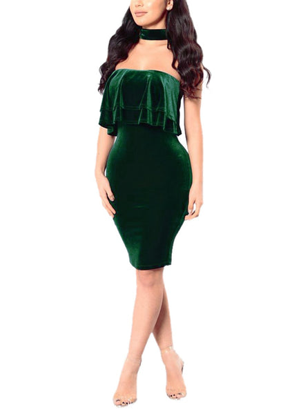 Model wearing green velvet ruffled tube choker dress