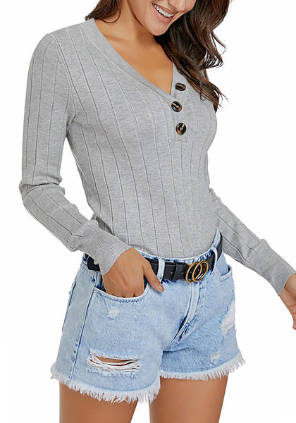 Model wearing grey V-neckline buttons ribbed knit pullover top