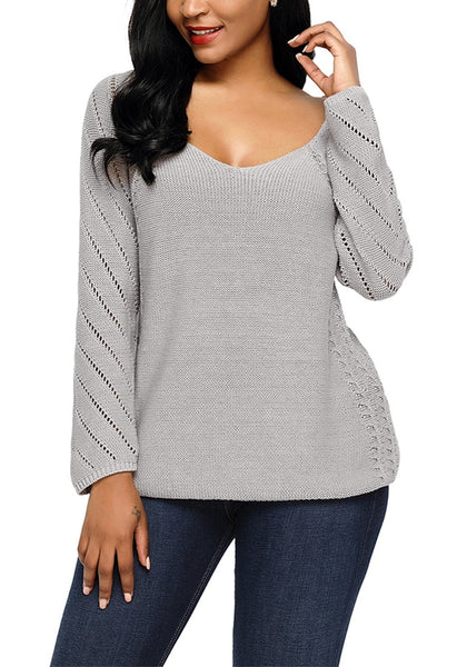 Model wearing grey hollow out cotton sweater