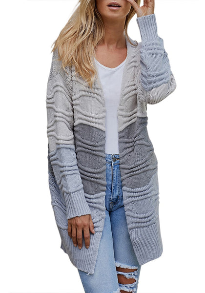 Model wearing grey long sleeves colorblock textured sweater cardigan