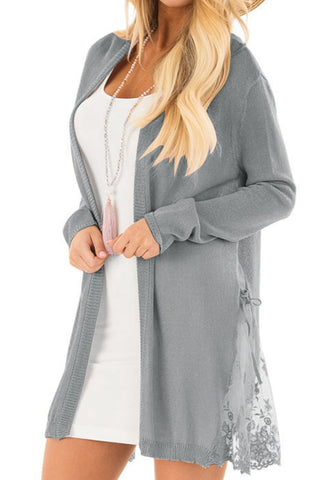 Grey Long Sleeves Crochet Lace Open-Front Cardigan