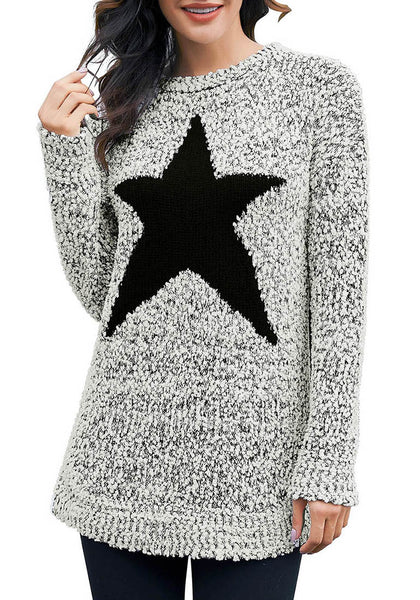 Model wearing grey melange popcorn fleece star pullover