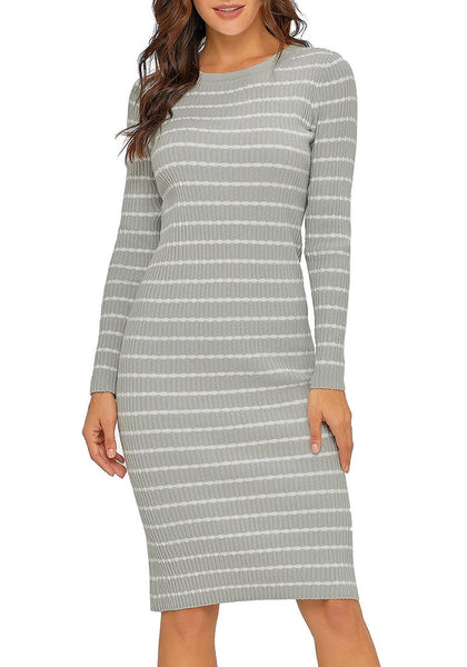 Model wearing grey ribbed knit striped bodycon dress