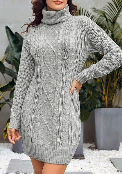 Model wearing grey turtleneck cable knit pullover sweater dress