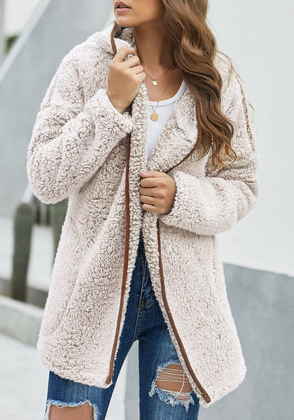 Model wearing khaki fuzzy fleece hooded open-front oversized coat