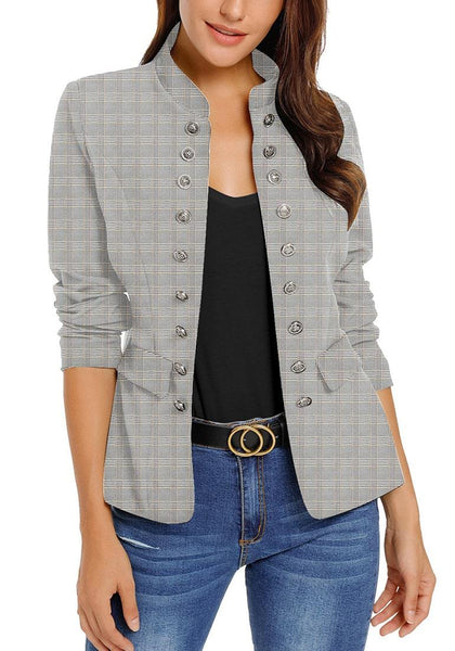 Model wearing light grey stand collar open-front blazer