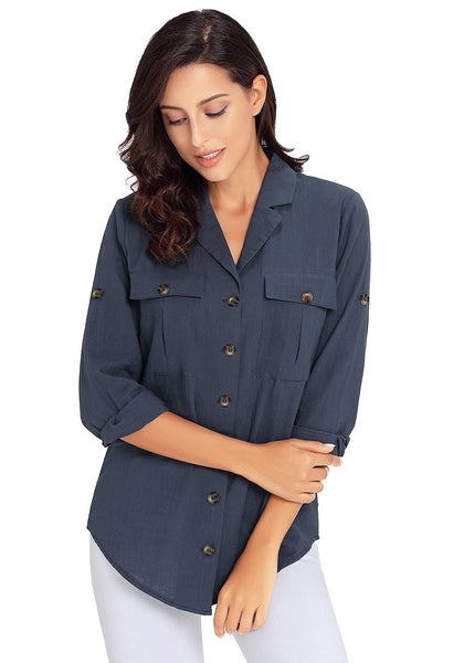 Model wearing navy blue long cuffed sleeves lapel button-up blouse