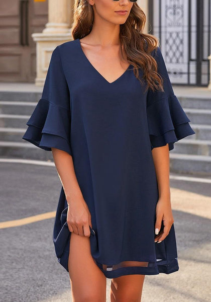 Model wearing  navy flare sleeves mesh panel V-neckline shift dress