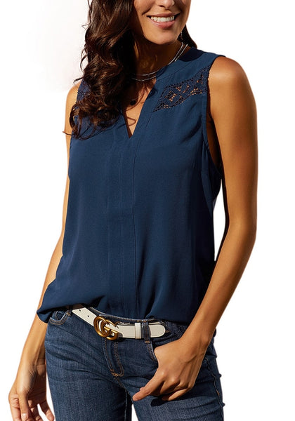 Model wearing navy notched V-neck crochet lace sleeveless top