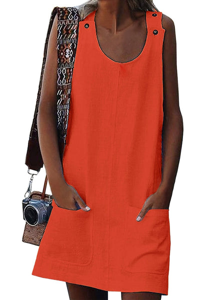 Model wearing orange button-shoulder pockets sleeveless shift dress