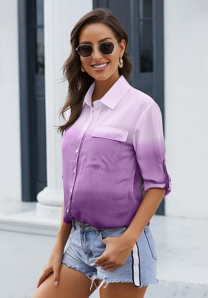 Model wearing purple ombre long sleeves collared button-up shirt