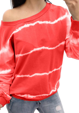 Red One-Shoulder Tie Dye Striped Sweatshirt