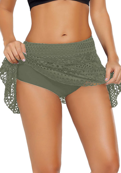 Model wearing rmy green lace crochet swim skirt showing details