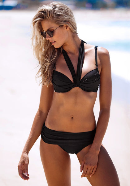 Model wearing twist Bandeau Bikini - Black - Appealing Criss Cross Design at Front