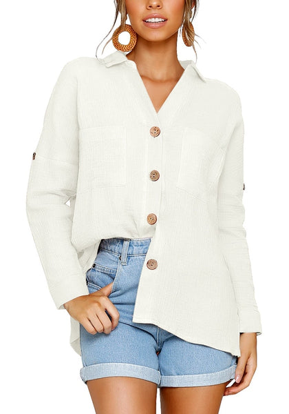 Model wearing white collared V-neckline cuffed sleeves button-up top