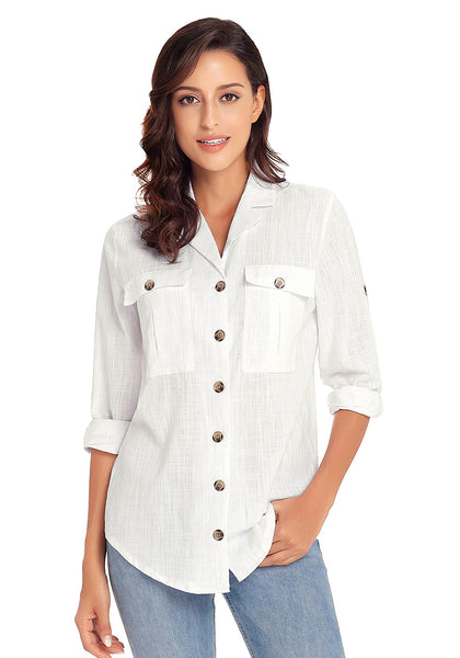 Model wearing white long cuffed sleeves lapel button-up blouse33