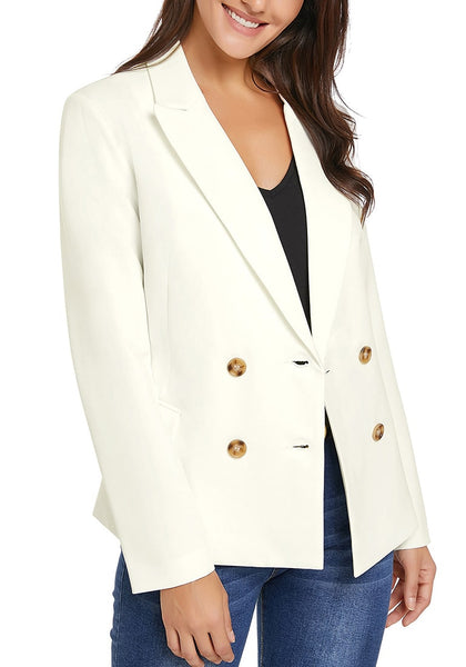 Model wearing white notch lapel double breasted blazer