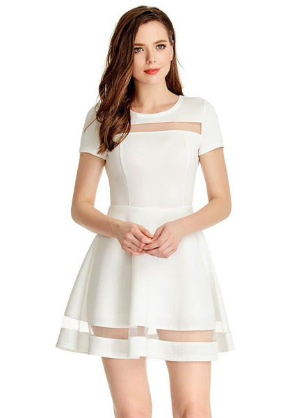 Model wears White Mesh-Panel Short-Sleeve Skater Dress