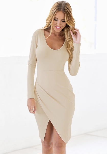 Apricot Draped Wrap Dress