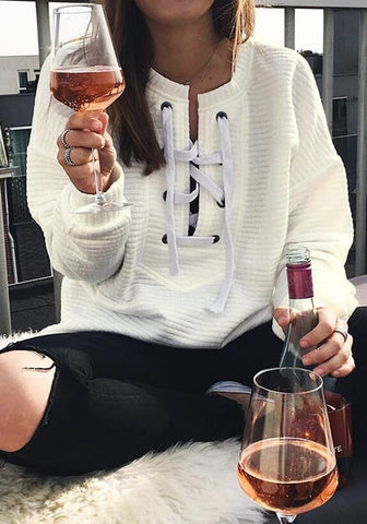 White Ribbed Lace-up Sweatshirt