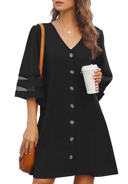 Model poses wearing black V-neck 34 bell sleeves button down shift dress
