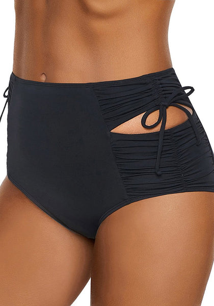 Model poses wearing black high-waist cutout drawstring ruched bikini bottom