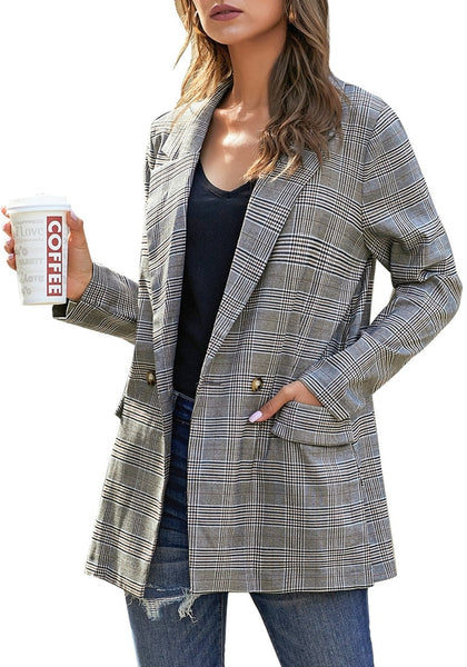 Model poses wearing brown notch lapel gold button plaid blazer
