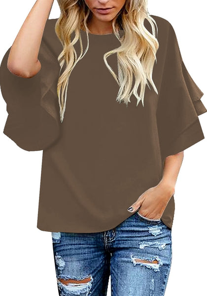 Model poses wearing brown trumpet sleeves keyhole-back blouse