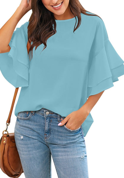 Model poses wearing light blue trumpet sleeves keyhole-back blouse