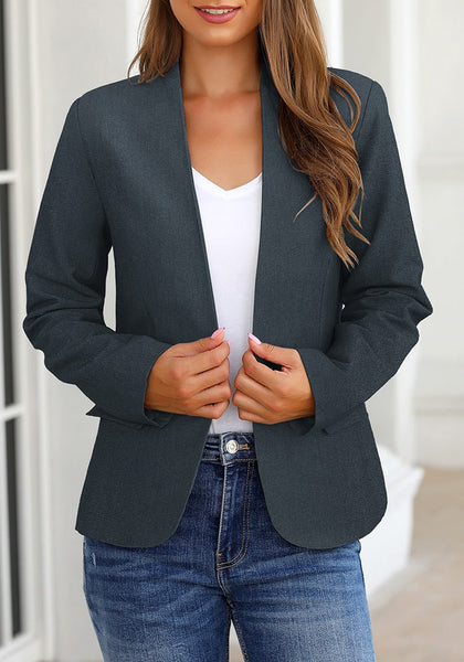 Model poses wearing navy V-neckline single button blazer