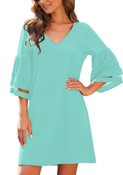 Model poses wearing sky blue 3-4 mesh sleeves V-neck mini shift dress