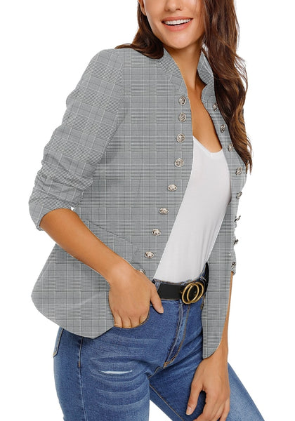 Model wearing grey plaid stand collar open-front blazer with folded sleeves