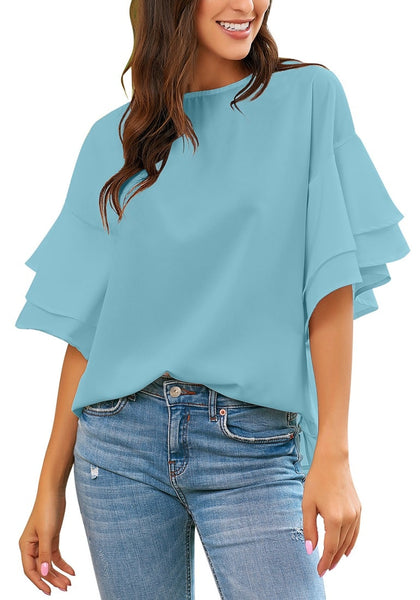 Model wearing light blue trumpet sleeves keyhole-back blouse