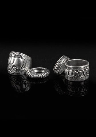 Oxidized Silver Ring Set