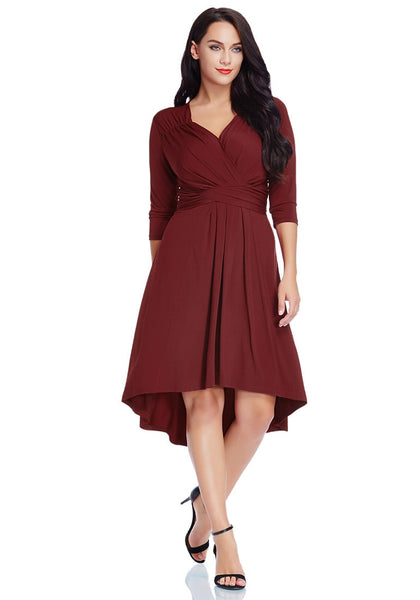 Pretty model in burgundy ruched high-low dress