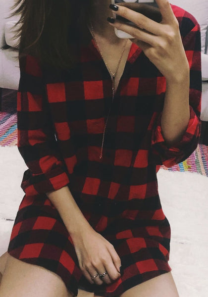Pretty model in plaid flannel tunic shirt