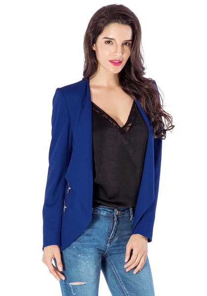 Pretty model in royal blue draped blazer