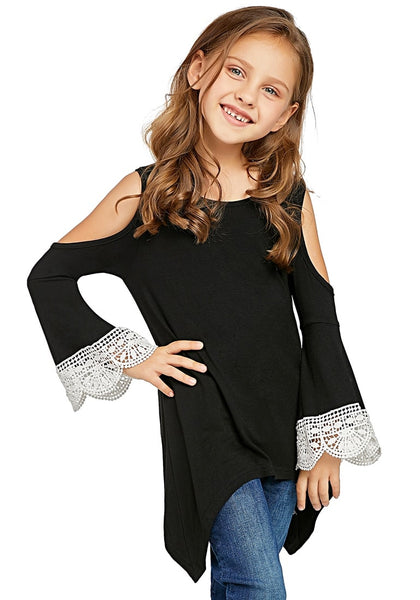 Pretty model poses wearing black cutout shoulder crochet flare sleeves girl tunic