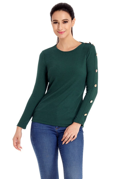 Pretty model poses wearing pine green button-embellished fitted top