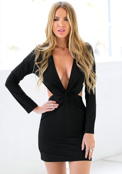 Pretty model wearing black knot cutout dress
