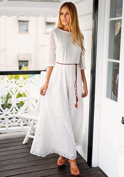 Pretty model wearing floral maxi lace dress