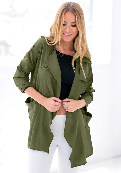 Pretty model wearing moss green draped cardigan