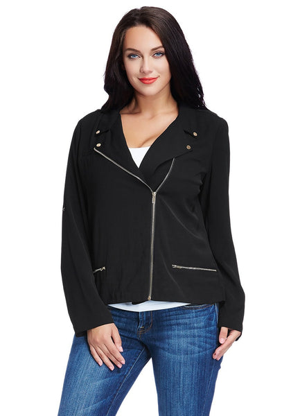 Pretty model wearing plus size front-zip black blazer