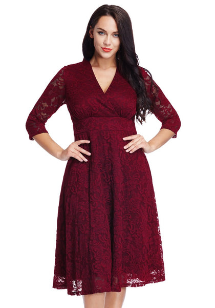 Pretty model wearing plus size red lace surplice midi dress