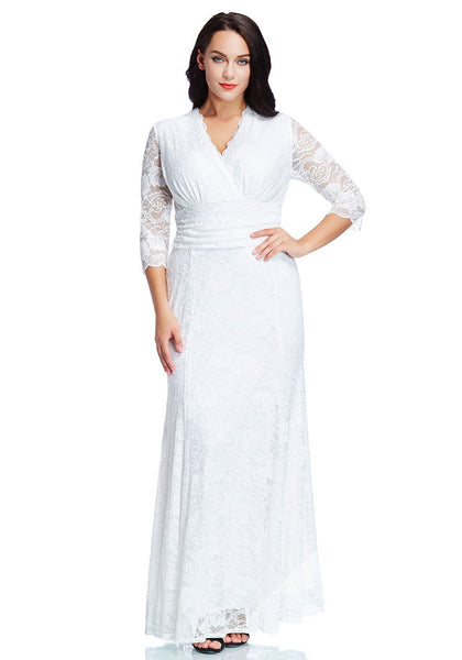 Pretty model wearing plus size white lace long dress