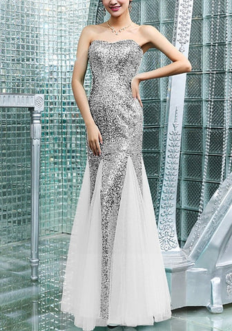 Silver Sequin Mermaid Evening Gown