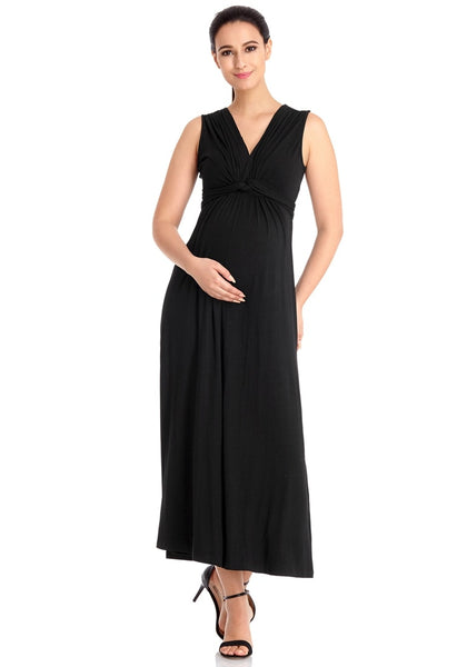 Pretty pregnant model wearing black sleeveless A-line long maternity dress