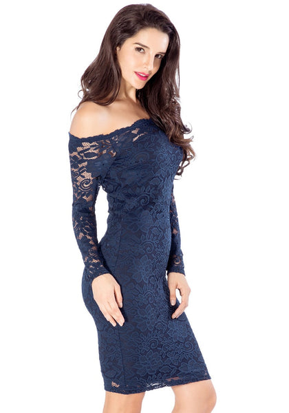 Right angle view of model in navy blue off-shoulder pencil dress